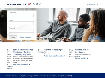 Welcome to CashPro - Bank of America