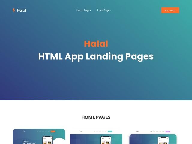 Halal HTML App Landing Pages Screenshots