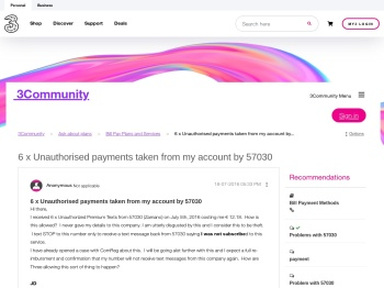 6 x Unauthorised payments taken from my account by ...