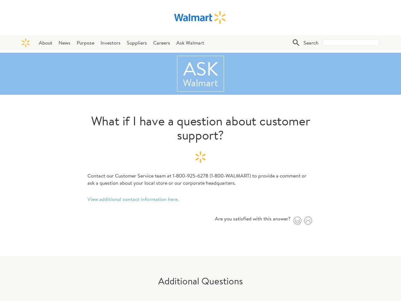 What if I have a question about customer support? - Walmart ...