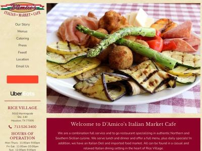 screenshot of D'Amico's Italian Market Cafe's homepage