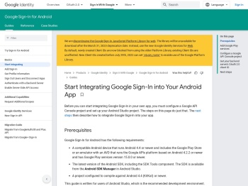 Start Integrating Google Sign-In into Your Android App
