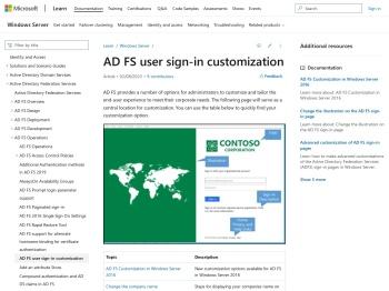 AD FS user sign-in customization | Microsoft Docs
