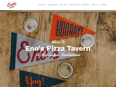 screenshot of Eno's Pizza Tavern's homepage