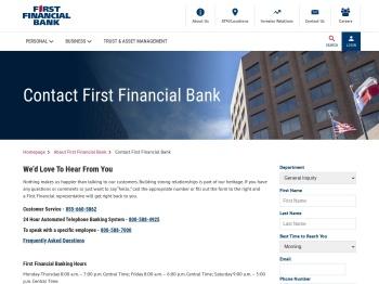 FFIN - Contact First Financial Bank