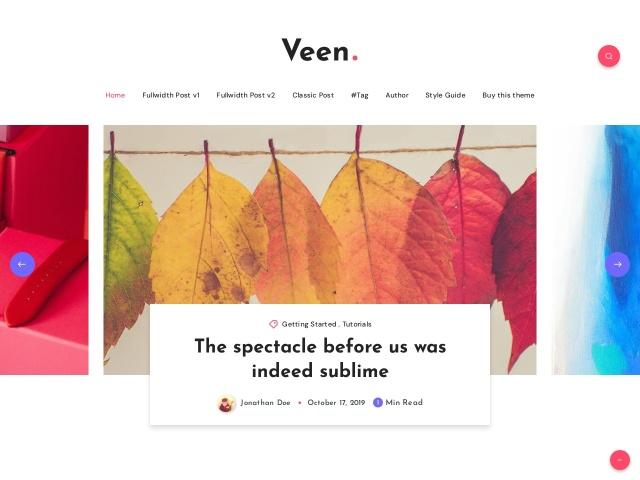 Veen - Minimal blog for Ghost Screenshots