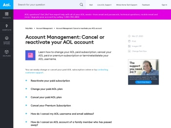 Account Management: Cancel or reactivate your AOL account ...