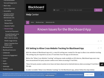 Known Issues for the Blackboard App