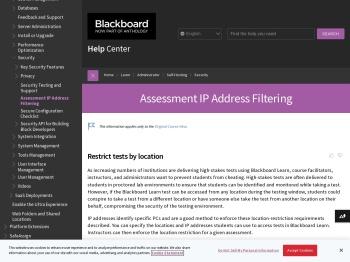 Assessment IP Address Filtering | Blackboard Help
