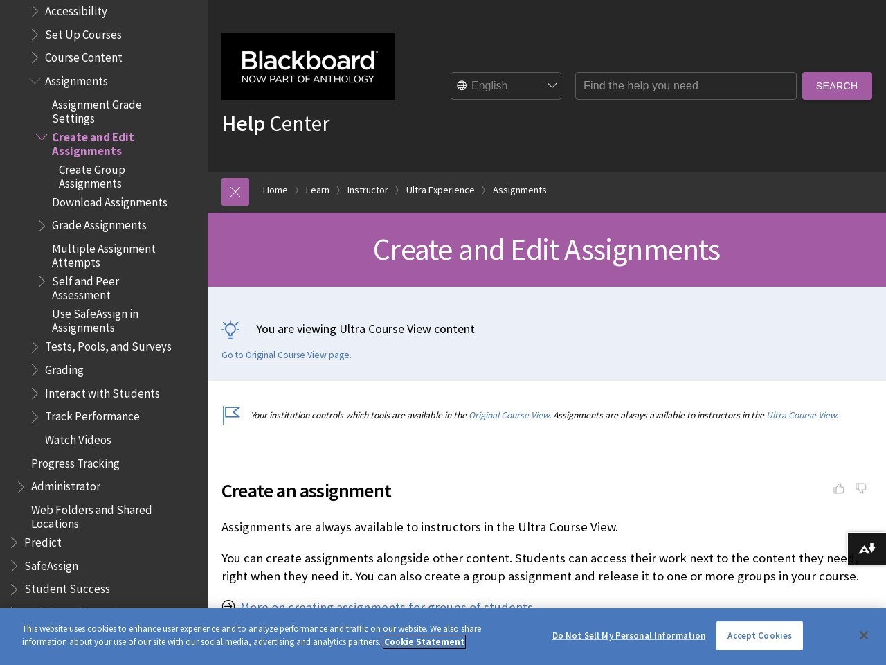 Create and Edit Assignments   Blackboard Help