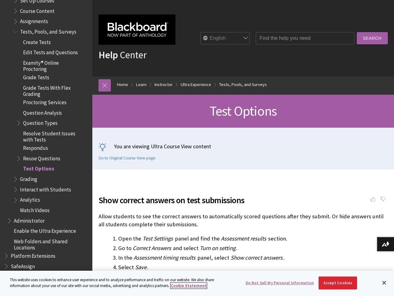 Test and Survey Options | Blackboard Help