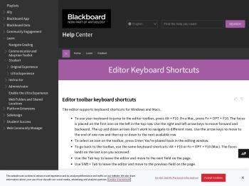 Editor Keyboard Shortcuts | Blackboard Help