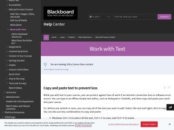 Work with Text | Blackboard Help
