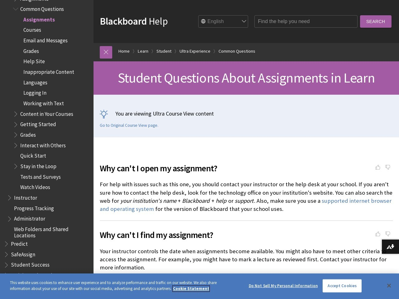Student Questions About Assignments in Learn - Blackboard ...