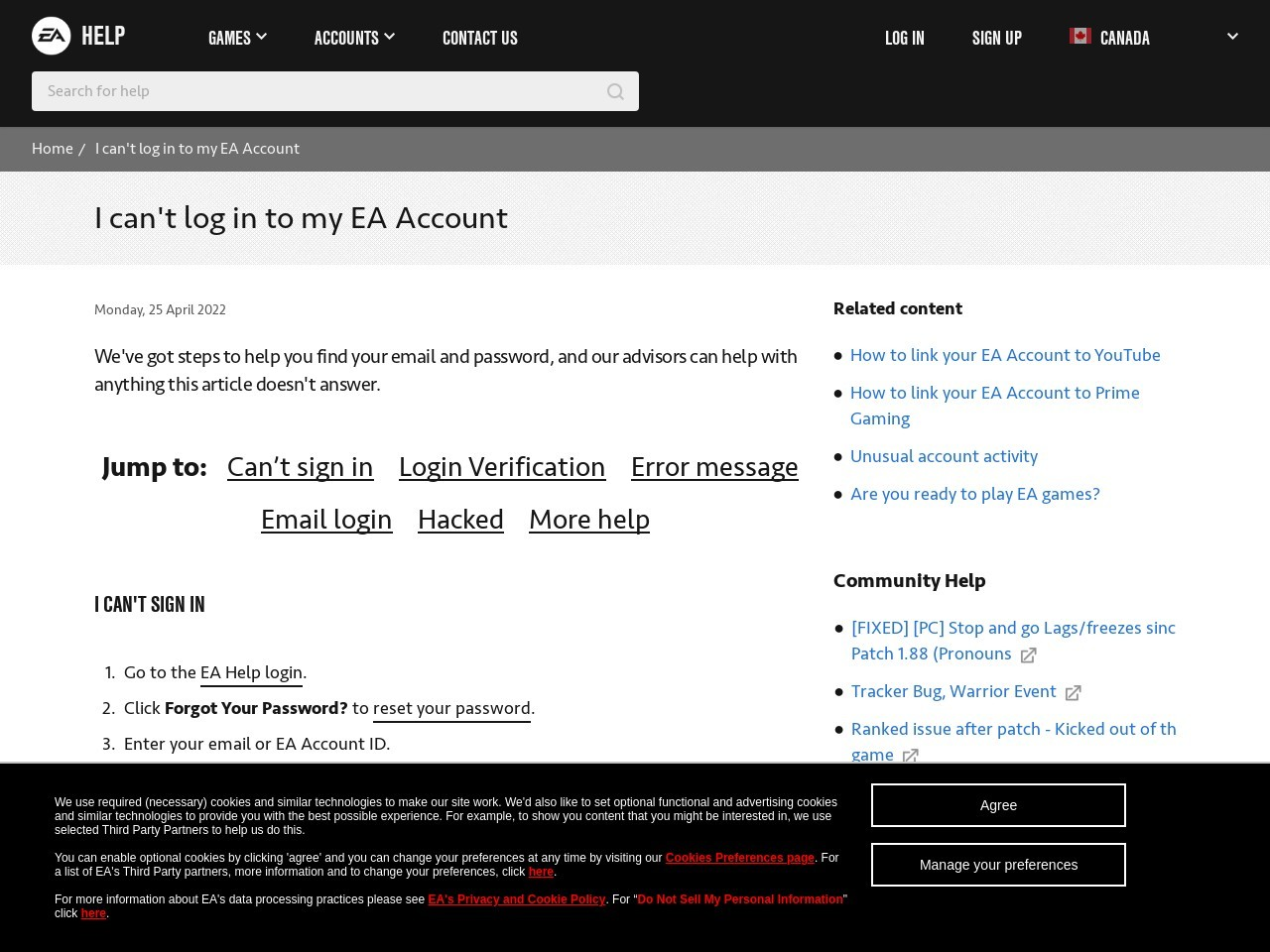 I can't log in to my EA Account - EA Help