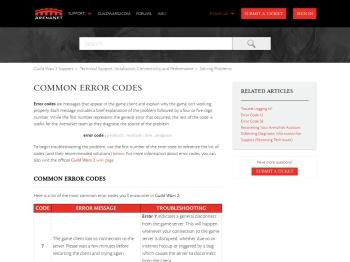 Common Error Codes – Guild Wars 2 Support