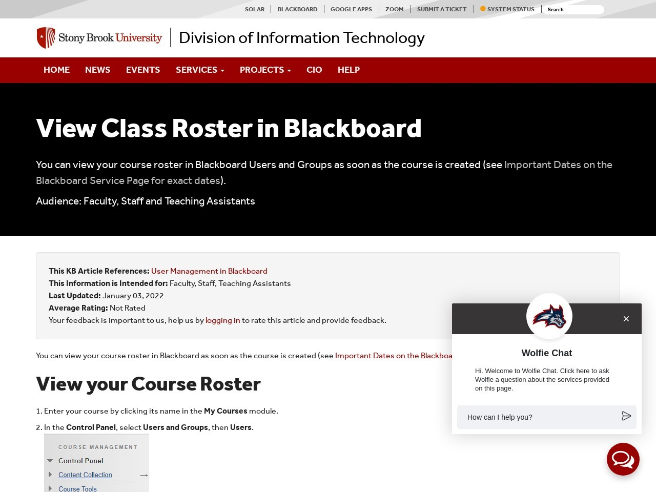View Class Roster in Blackboard - Division of Information ...
