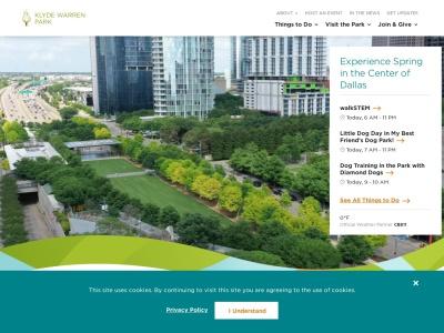 screenshot of Klyde Warren Park's homepage