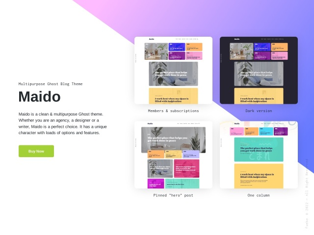 Maido - Multipurpose Ghost Blog Theme Screenshots