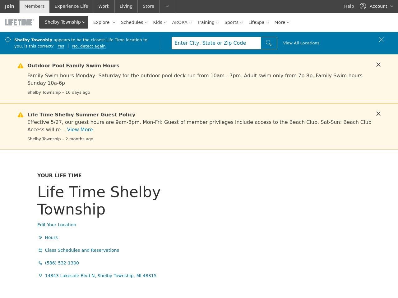 Lifetime fitness shelby