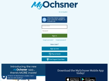 MyOchsner - Login Page