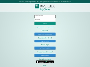 Riverside MyChart - Login Page