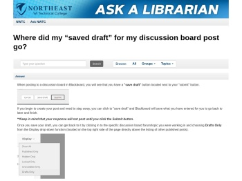 """Where did my """"saved draft"""" for my discussion board post go?"""