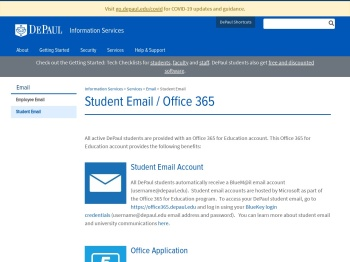 Student Email / Office 365 - DePaul University, Chicago