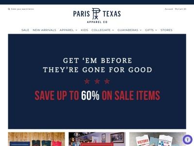 screenshot of Paris Texas Apparel Co's homepage