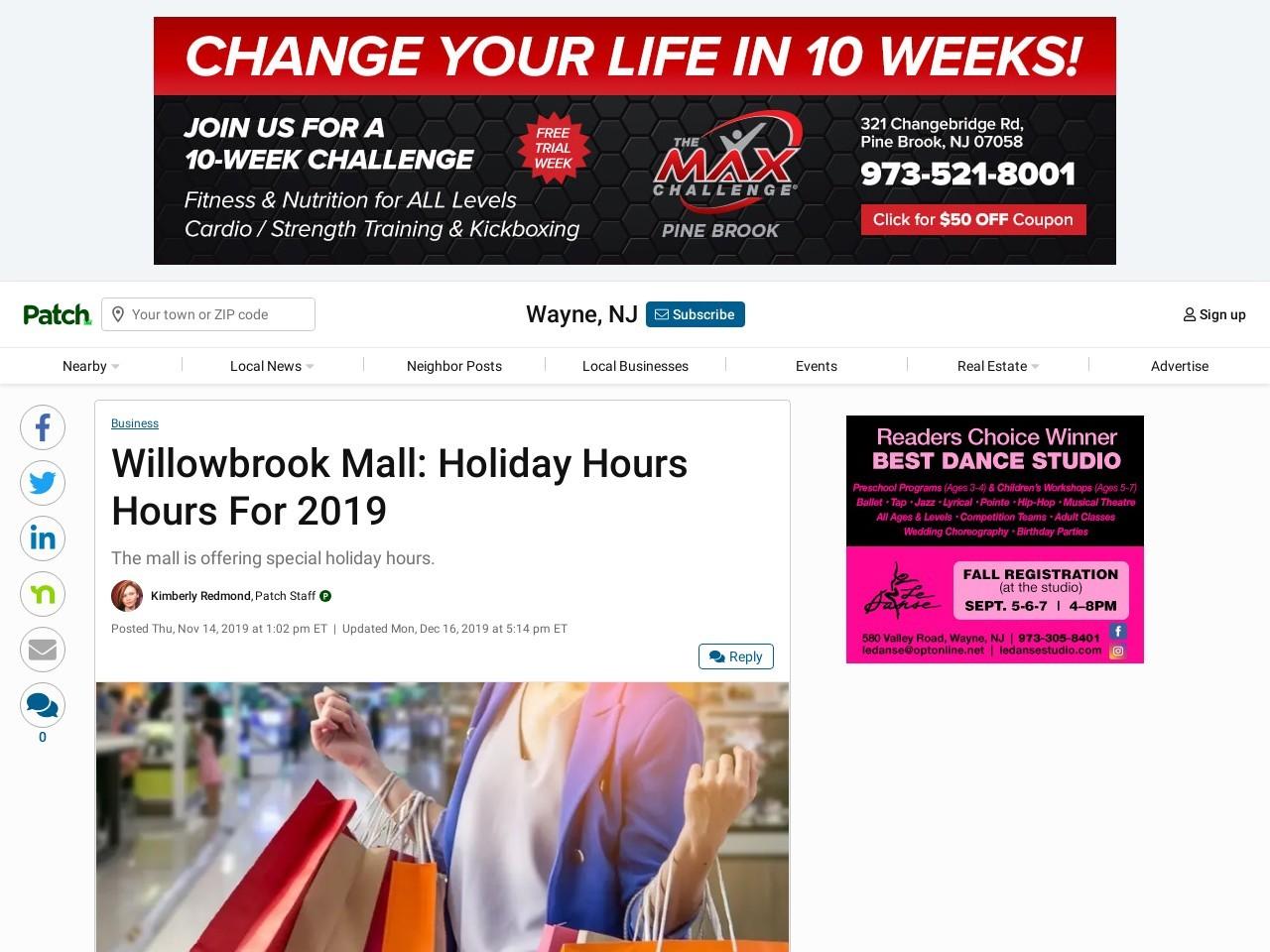 Willowbrook Mall: Vakantie Openingstijden Voor 2019 | Wayne, NJ ...