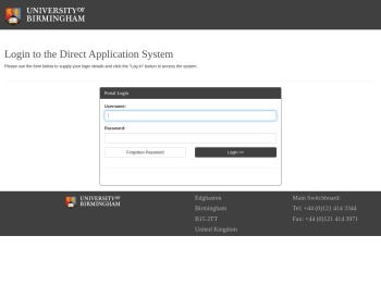 Log in to the portal - University of Birmingham Applications