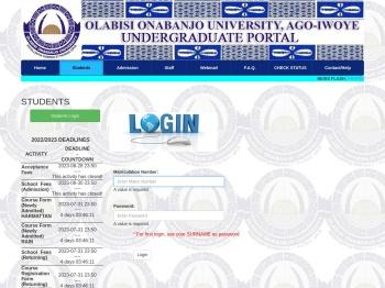 Students   Login - OOU PORTAL