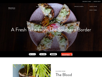screenshot of Primo's MX Kitchen and Lounge's homepage