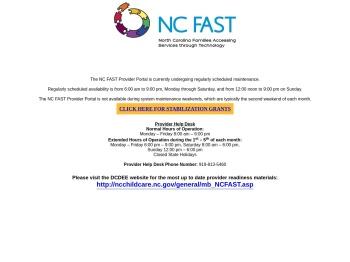 NC FAST Provider Portal Login page