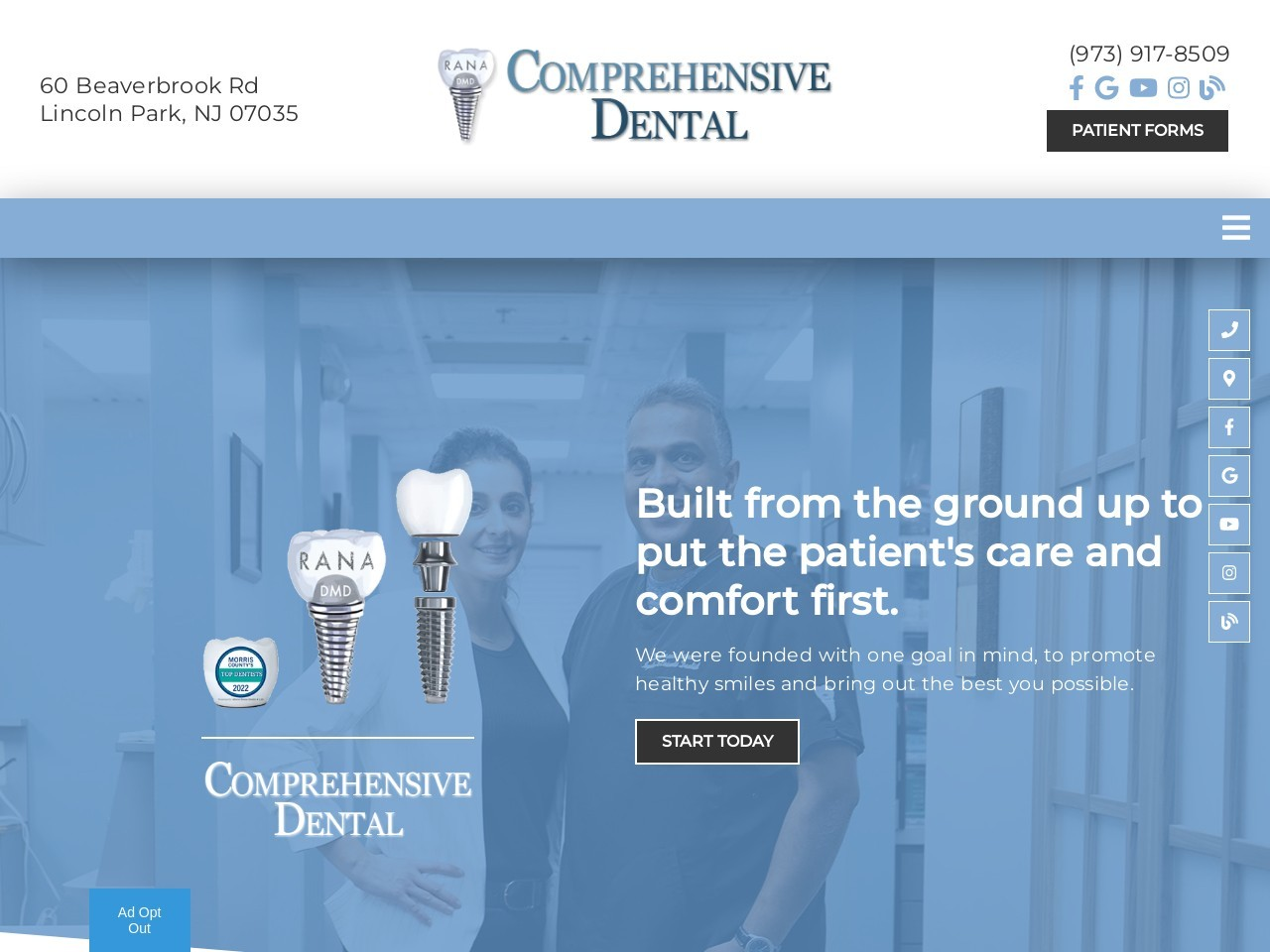 Example of a Blue Dental Website