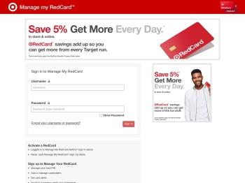 Target REDcard login page