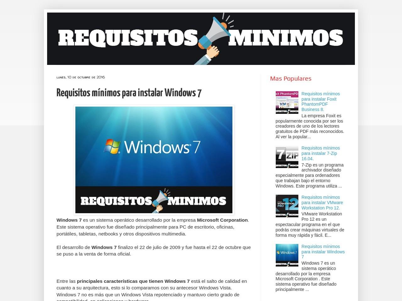 Requisitos minimos windows 7