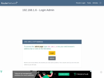 192.168.1.6 - Login Admin - Router Network