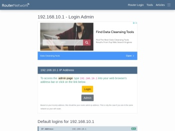 192.168.10.1 - Login Admin - Router Network