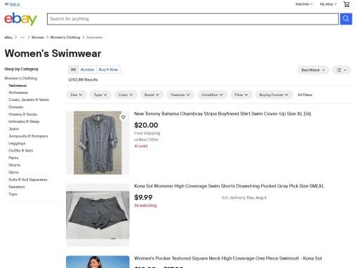 eBay Swimwear screenshot