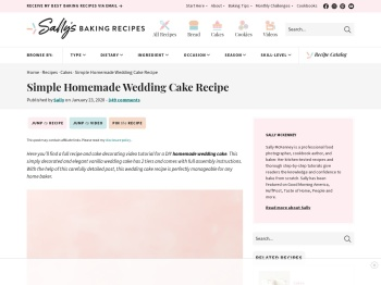Simple Homemade Wedding Cake Recipe   Sally's Baking ...