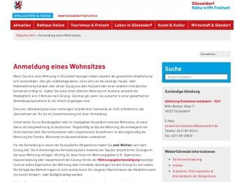 Anmeldung eines Wohnsitzes - Serviceportal Düsseldorf
