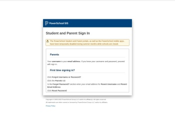 Power Parent / Student Login - PowerSchool - Department of ...