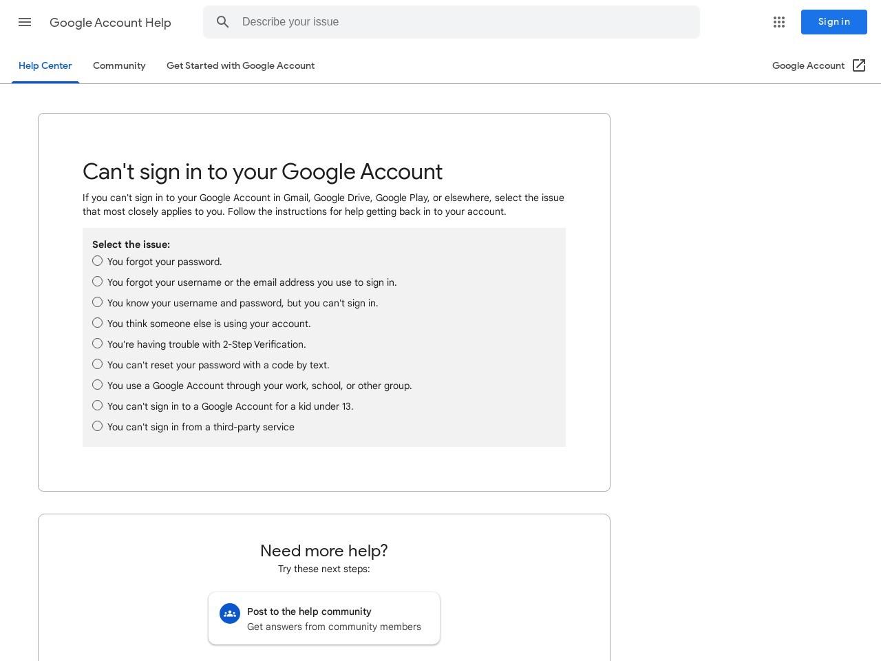 Vous ne parvenez pas à vous connecter à votre compte Google