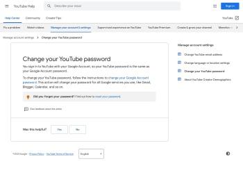 Change YouTube password - YouTube Help - Google Support