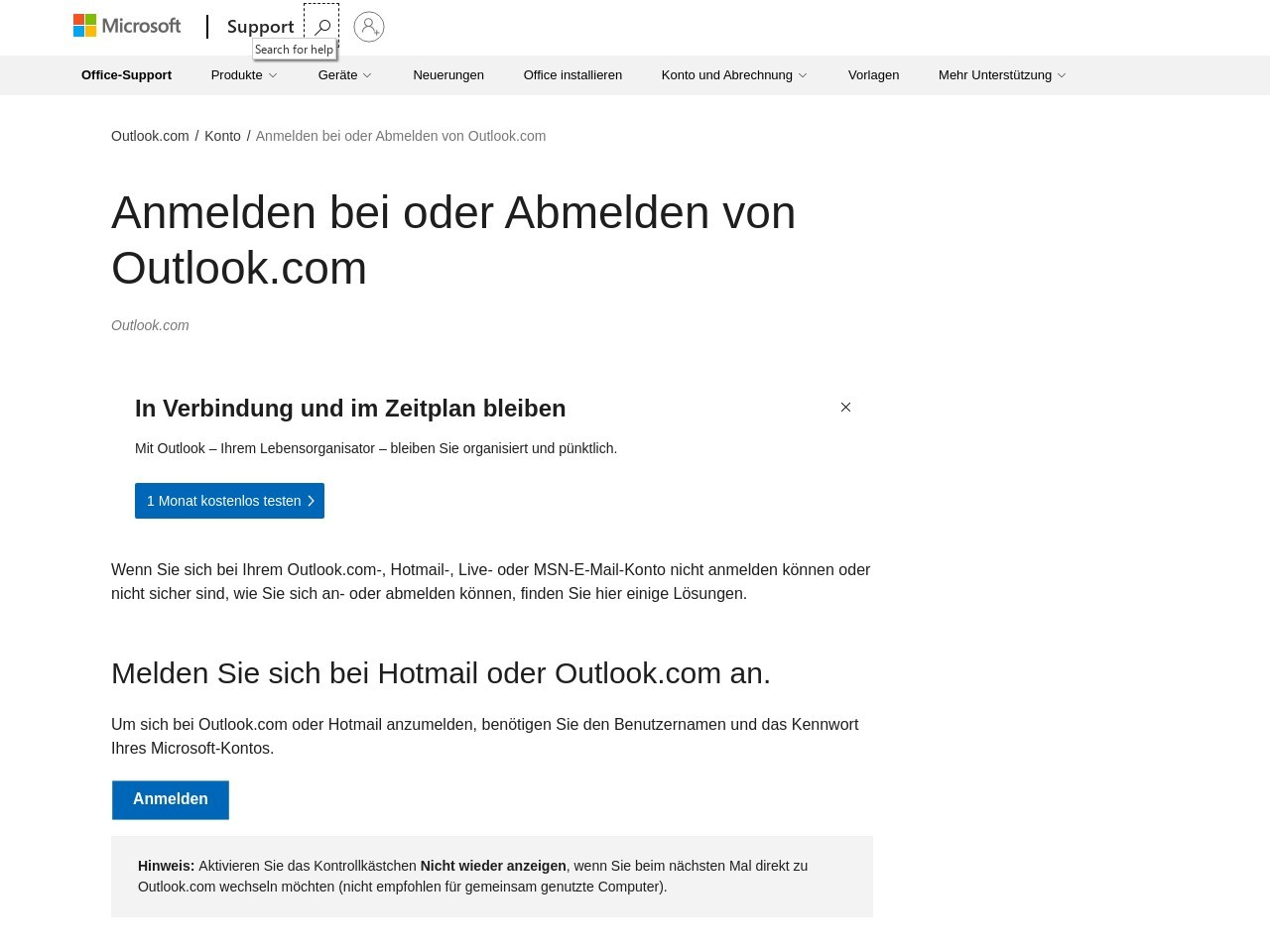 Anmelden bei oder Abmelden von Outlook.com - Outlook