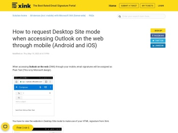 How to request Desktop Site mode when accessing Outlook ...