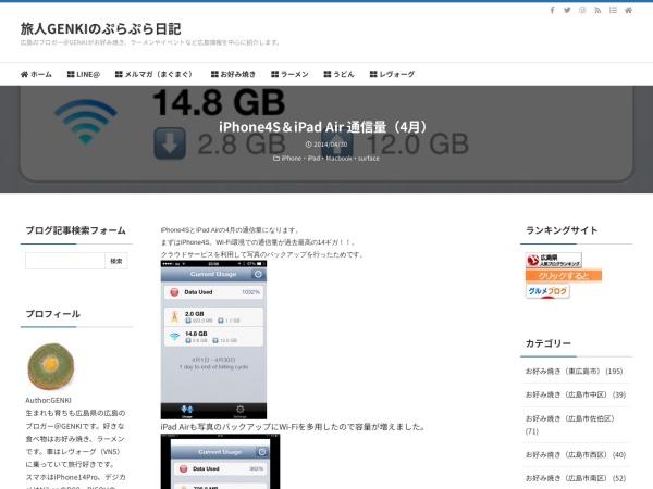 iPhone4S&iPad Air 通信量(4月)