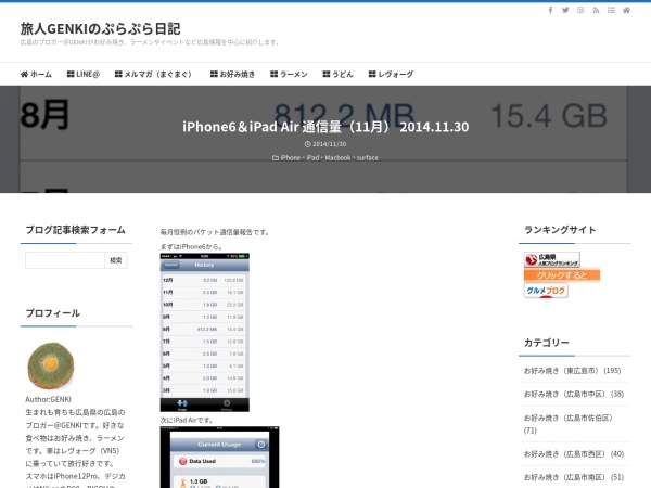 iPhone6&iPad Air 通信量(11月) 2014.11.30