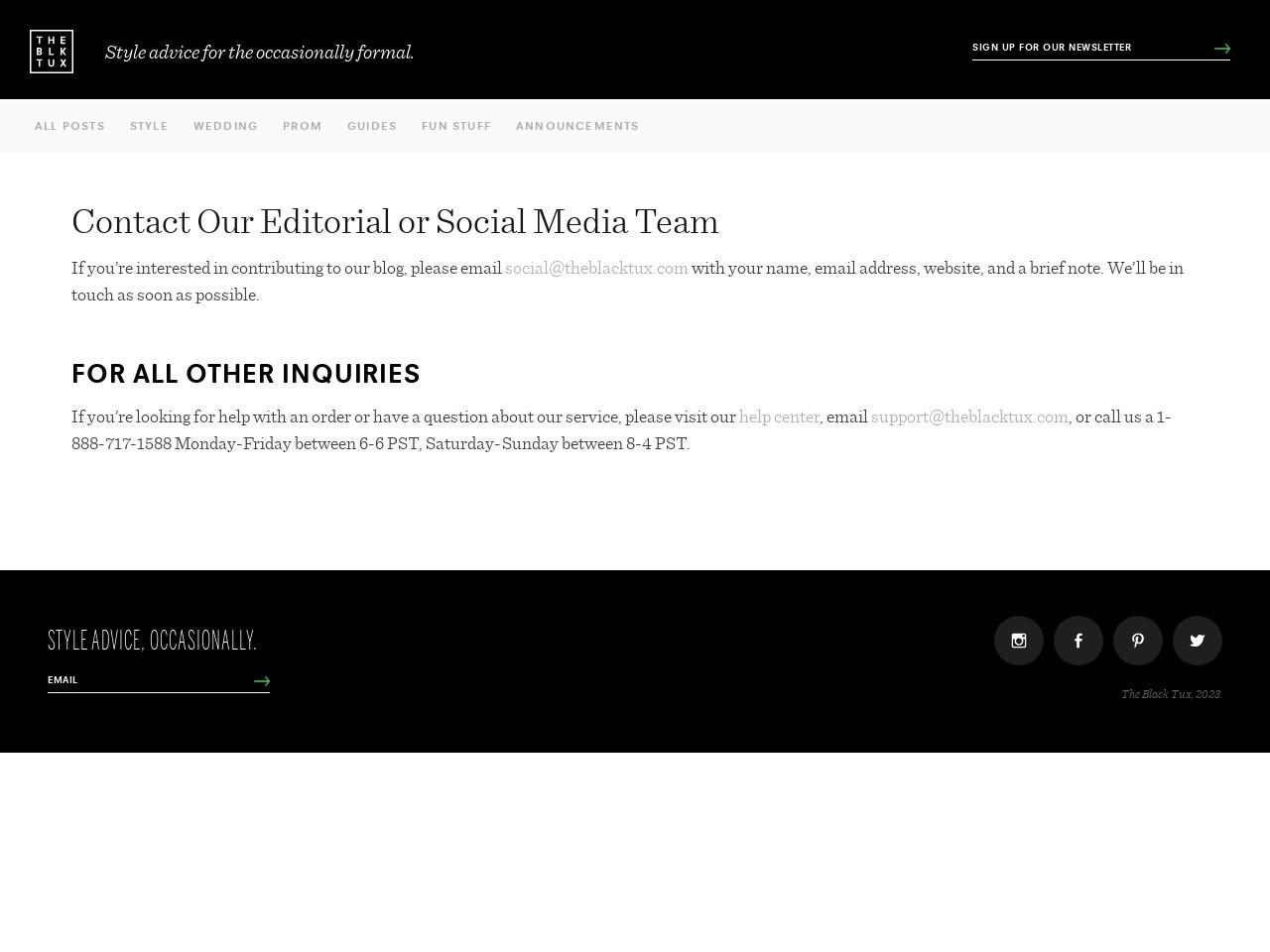 Editorial & Social Media Contact   The Black Tux Blog